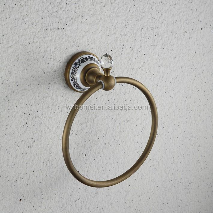 Mur monté laiton ronde anneau cristal bouton base en céramique antique  anneau de serviette pour salle de bains accessoires