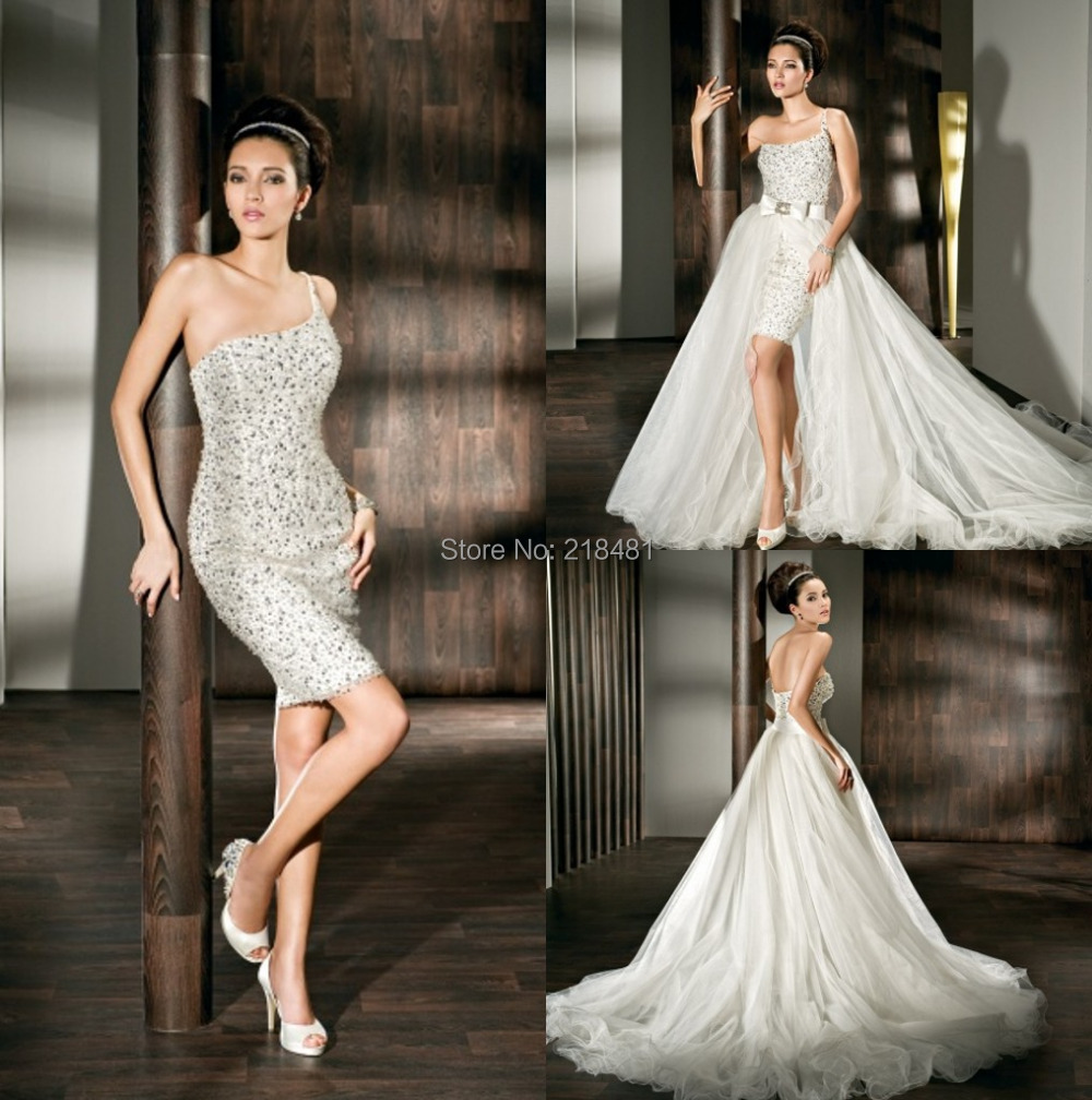 Detachable Cathedral Train Wedding Gown: Popular Women Tulle Wedding Dress Sexy Detachable Beaded