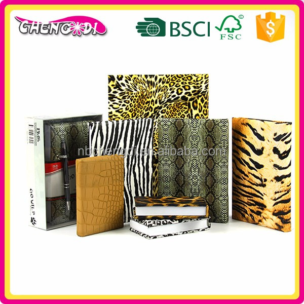 Various size leather/pu cover special animal skin design notebook