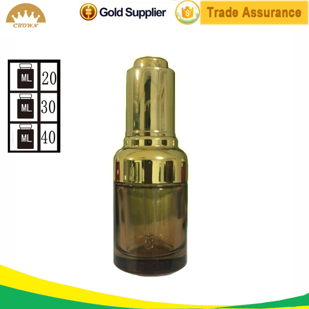alibaba trade assurance 20ml 30ml 40ml essential oil serum glass dropper bottle with gold pump