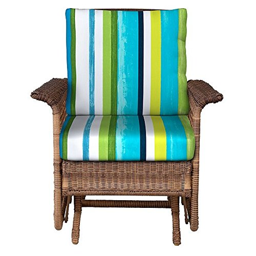 "Home Improvements Outdoor Patio Deep Seat Chair Cushion Set Seasonal Replacement Cushions 20-1/2""x22-1/2 x5 back; 23""x22""x5"" seat, 30 Prints/Colors (Blue Green White Stripe)"