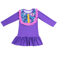 Top design ruffle kids boutique clothing Long sleeve fashion purple floral stripe girls shirts