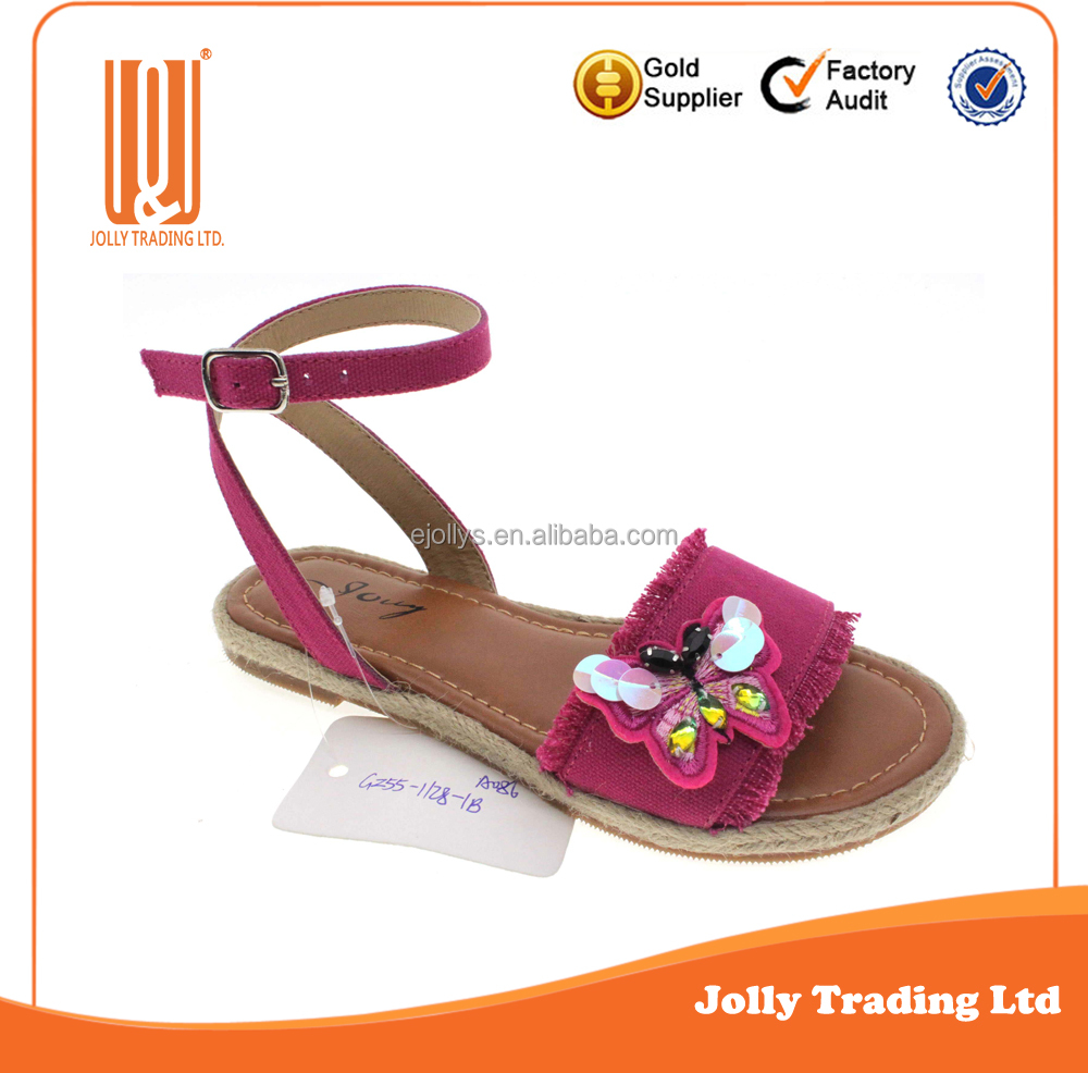 Hot Sale Girls Fabric Upper Beautiful Butterfly Decoration Dress Sandals