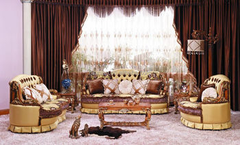 Luxury European Victorian Style Living Room Golden Sofa Set/Fancy Palace  Noble EmbroideryTufted Button Fabric
