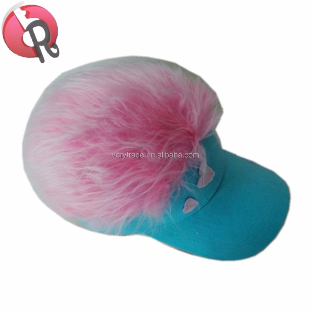 Novelty Sun Visor Cap Wig Peaked Adjustable Baseball Hat With Spiked Hair  funny hat with hair 14067a20be1