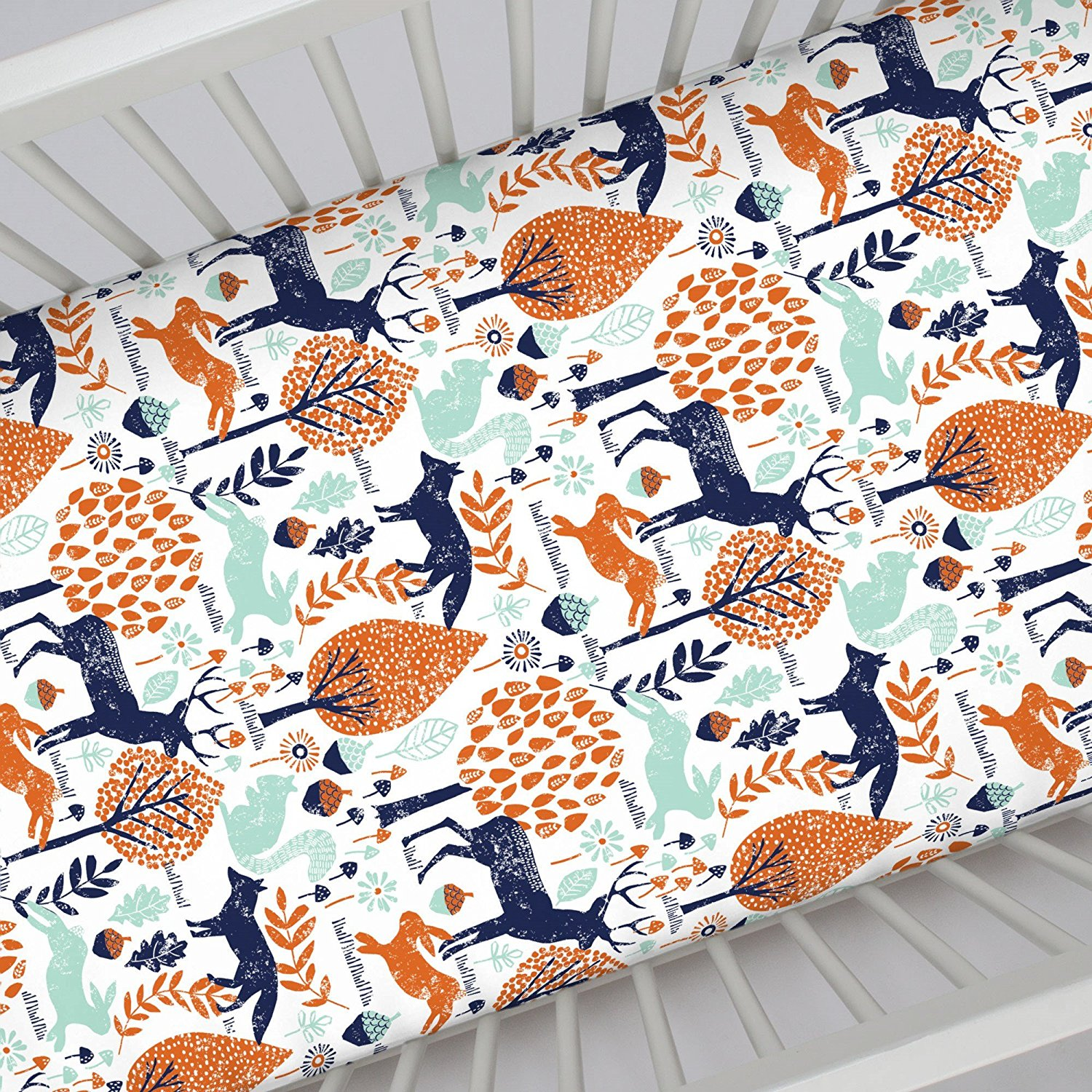 Get Quotations Carousel Designs Navy And Orange Woodland Animals Crib Sheet
