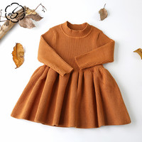 High Quality Spring Solid Warm Kids Baby Knit Sweater Dress