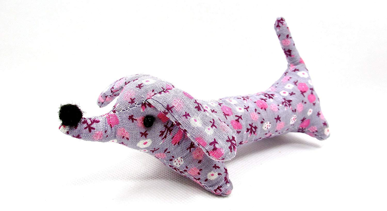 "Dritz Collectible Dog Pincushion,purple with Pink Flowers Stuffed Dog Cushion,6""l X 2""w X 2.5""h"