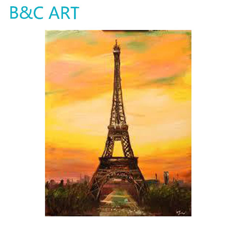 Paris Tour Eiffel Bâtiment Moderne Coucher De Soleil