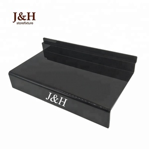J&H Storefixture Customized logo Decorative Black Clear Sport Shoes Display Rack Stand Acrylic Shelf Women Slatwall Shoes Holder