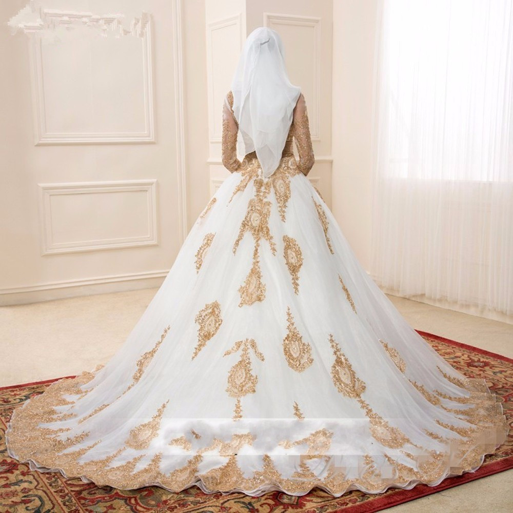 Fa67 Gold And White Islamic Wedding Dresses Vestido De Noiva Ball