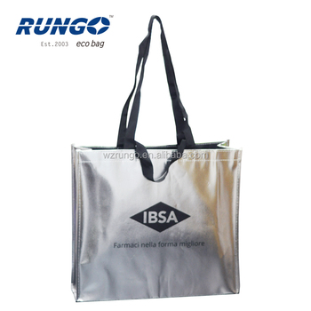 76ae342961 Italy Market Two Handles Silver Metallic Tote Bag With Black Non Woven  Inside - Buy Silver Metallic Tote Bag