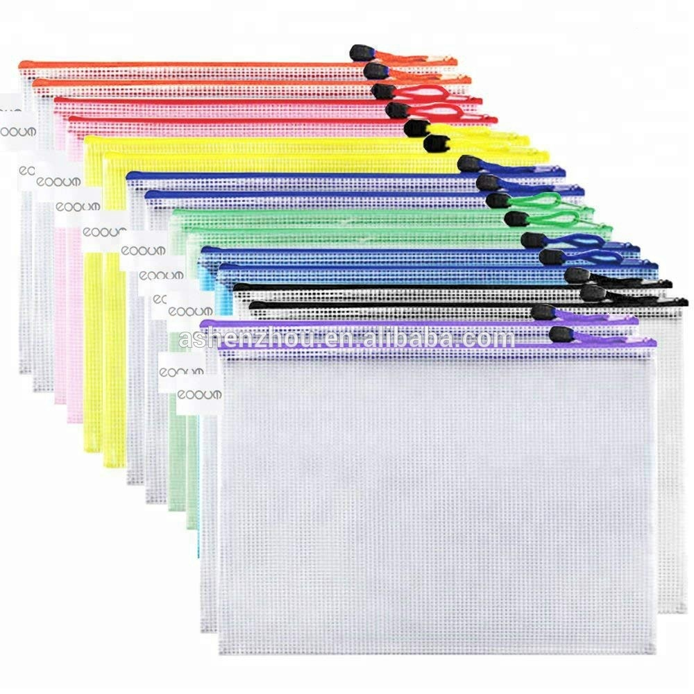Custom plastic clear file folder a4 size PVC mesh document bag with zipper cosmetics offices supplies travel accessories