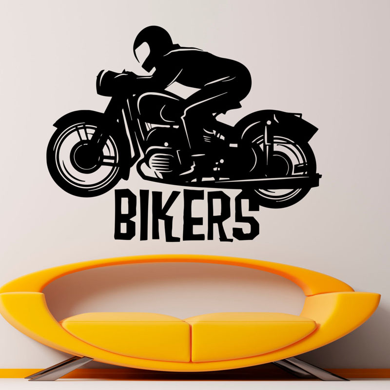 Creative Wall Sticker Motorbike Bikers Kids Bedroom Wall Decor Vinyl Adhesive Removable Wall Decals
