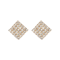 XUSHI Full Diamond Square Stud Earrings 925 Silver Needle Diamond vintage earrings EH19S003