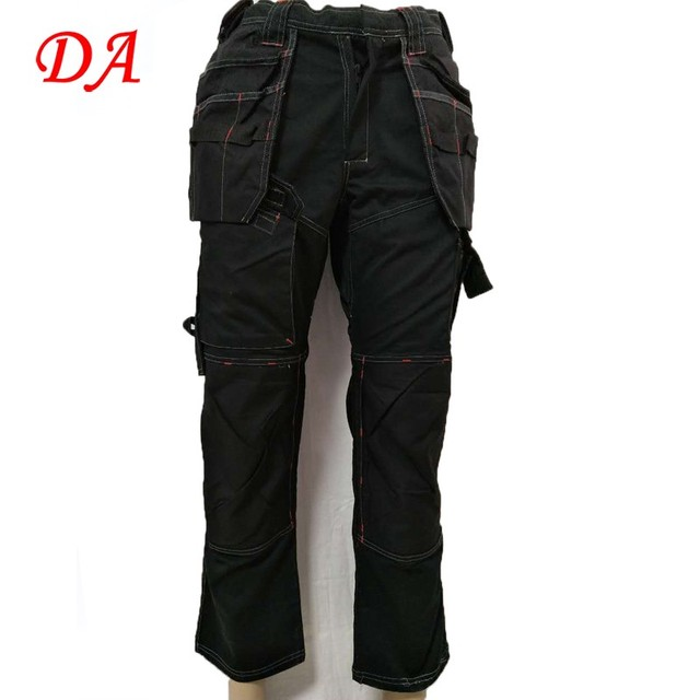 Black work trousers workwear cargo pants for men