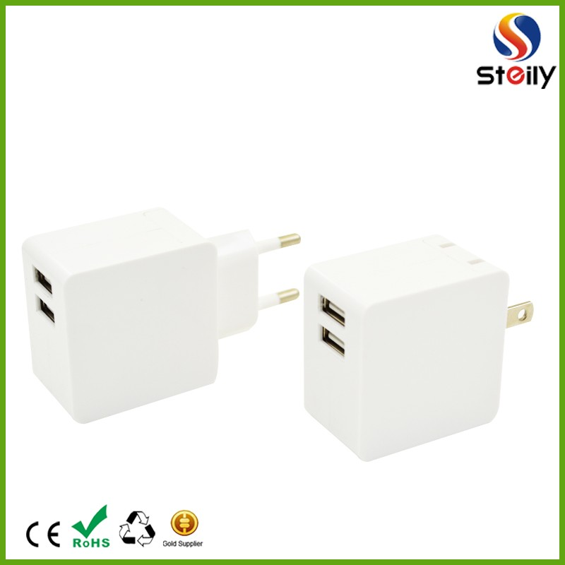 ABS+PC material travel charger with micro usb dual usb fold wall charger
