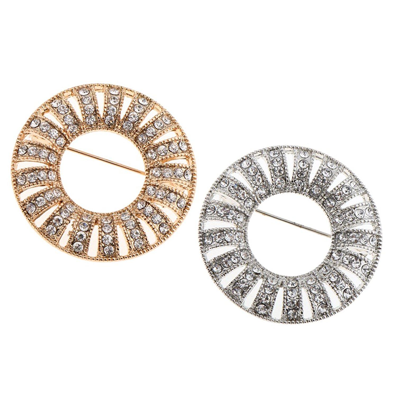 Homyl 2 Pieces Round Women Corsage Crystal Diamante Brooch Wedding Bridal Broach Pins