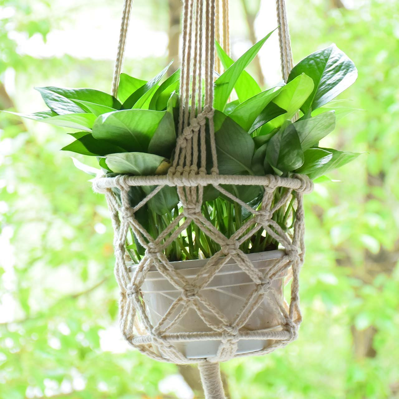 Cheap pp hanging flower pot find pp hanging flower pot deals on get quotations macrame plant hanger plant holder hanging plant pot basket rope plant pot support macrame jute hanging izmirmasajfo