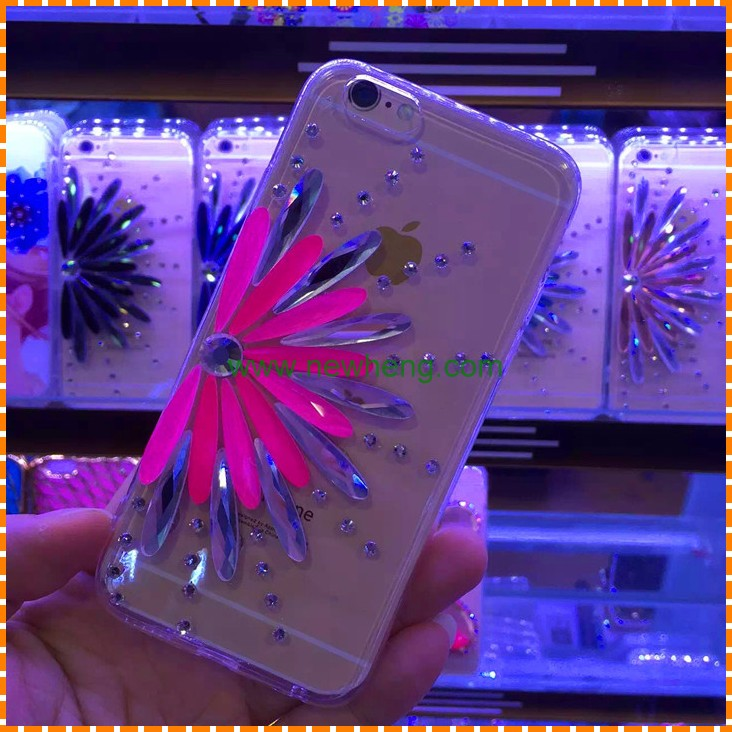 TPU Crystal Glitter Case With Diamond Sunflower Cover For iPhone 7
