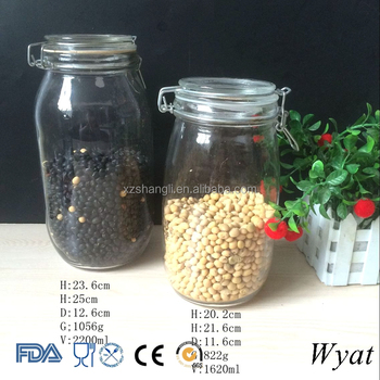 High Quality Round 2L Glass Clip Top Jar Canisters with Clamp Top Lids