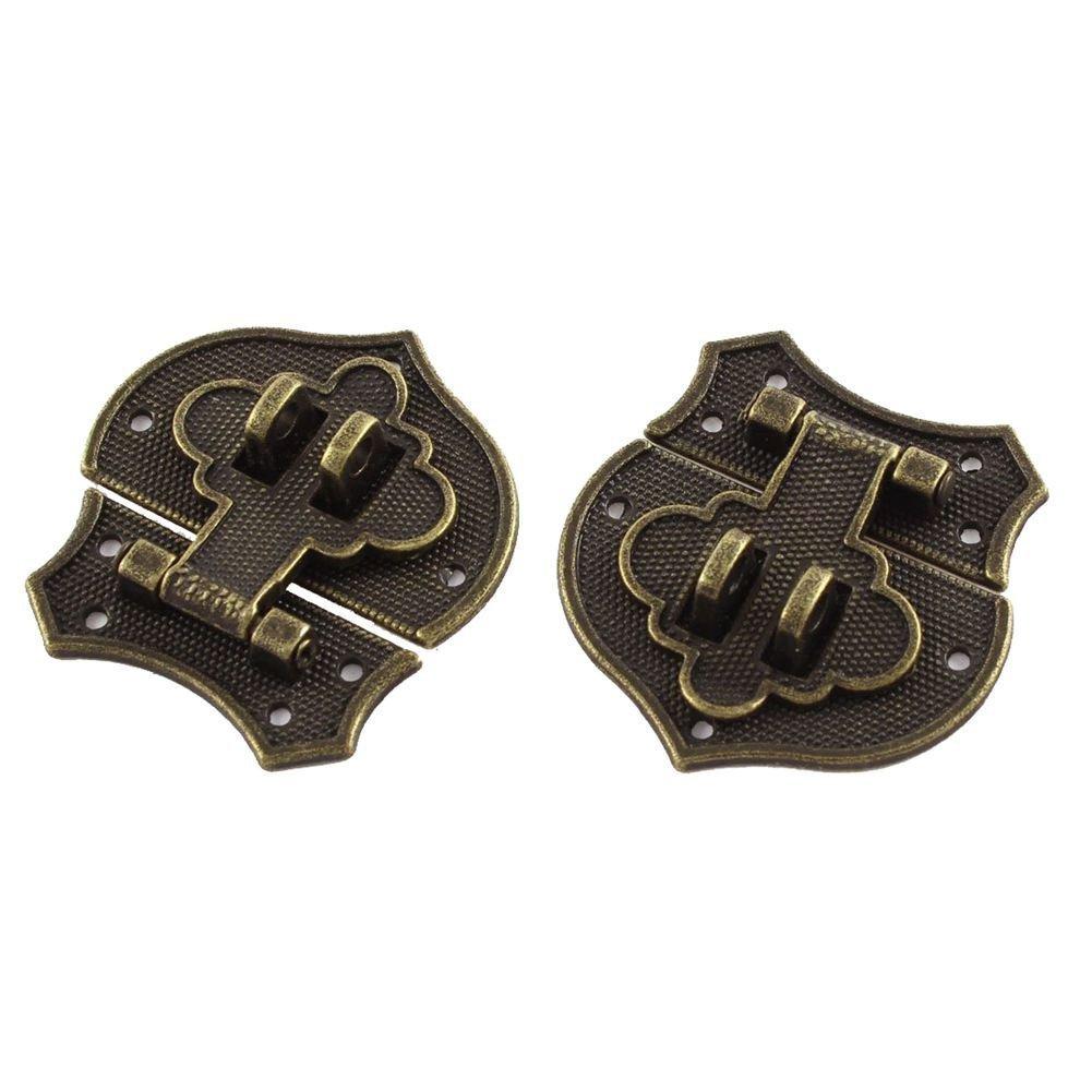 TOOGOO(R) 2pcs 41x40mm Vintage Style Heart Shape Box Staple Hasp Catch Latch Bronze