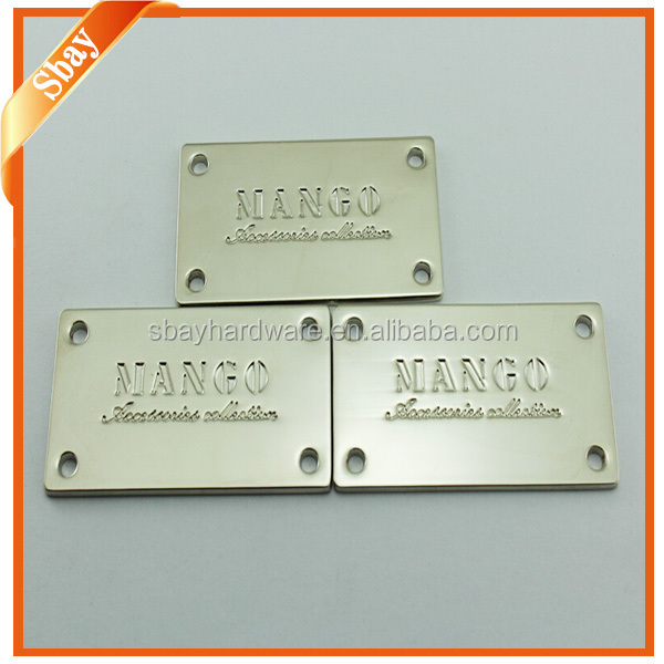 Custom metal engraved logo plate for handbags