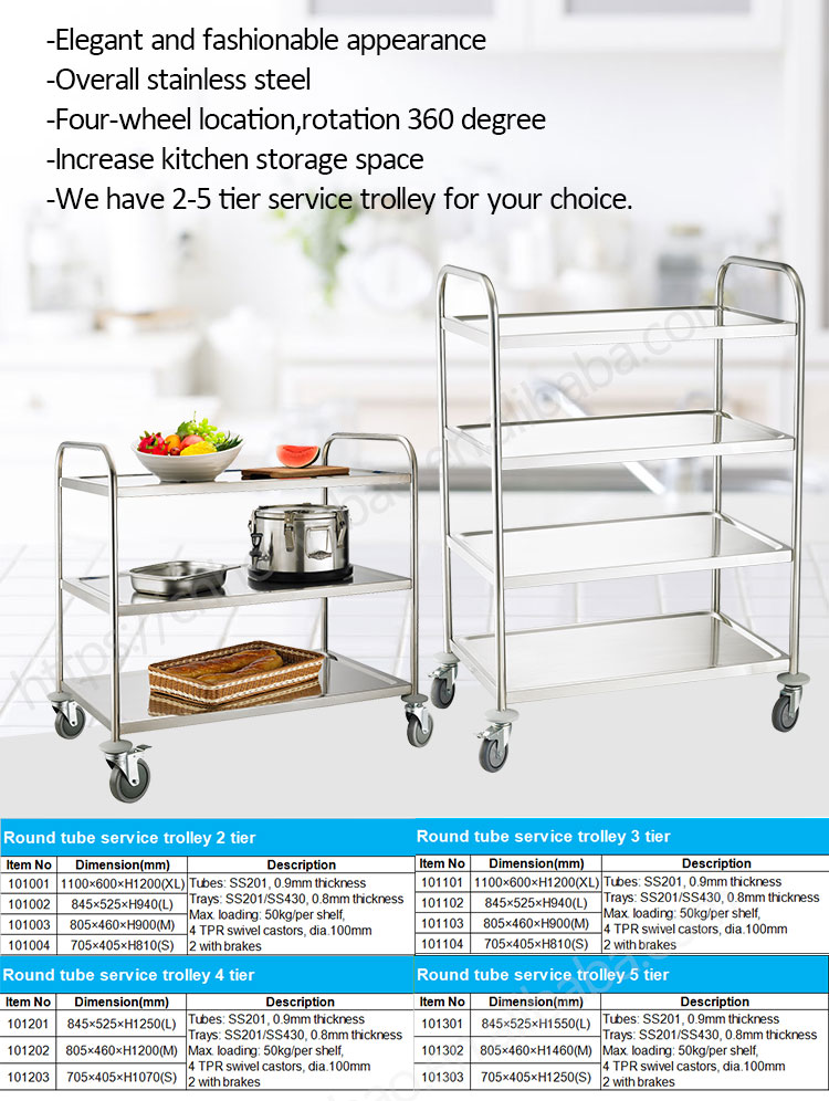 Heavybao Knocked-down Hotel Stainless Steel Dining Cart Food Service Trolleys