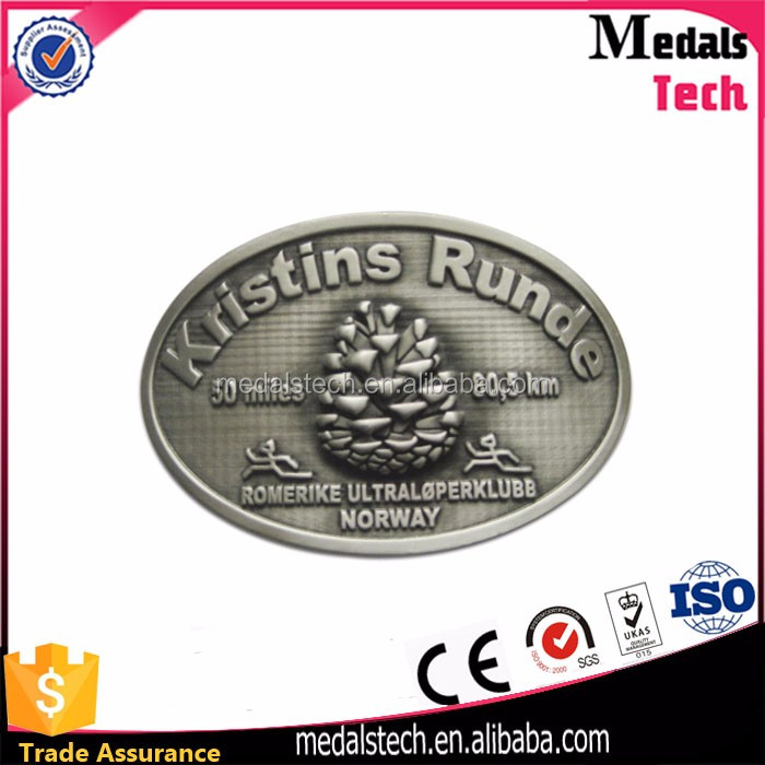 Custom 2D metal casting antique nickel name plate belt buckle wholesale