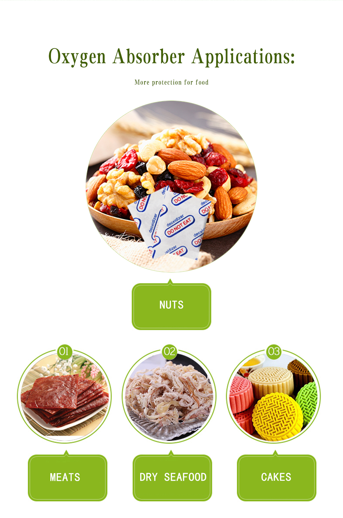 높은 품질의 식품 등급 산소 흡수/산소 스 캐빈