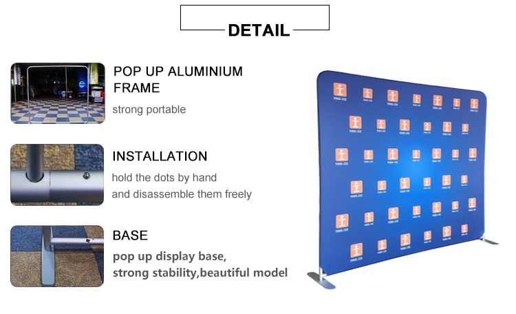 Portable aluminum frame tension display stand pop up display