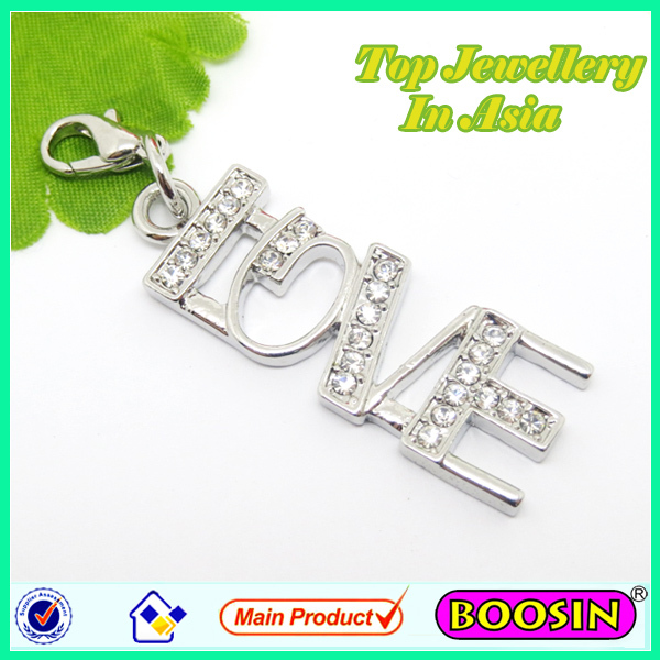 Metal alphabets Letter alloy charm/Love Crystal pendant alphabets designs #11117