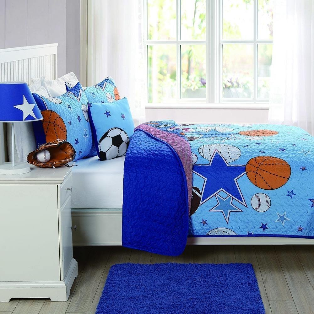 MISC 3pc Kids Blue Sports Theme Queen Size Pattern Patchwork Quilt, Microfiber, Active Stars Horizontal Stripes Sport, Cotton, White Orange Red Football Soccer Basketball Volleyball