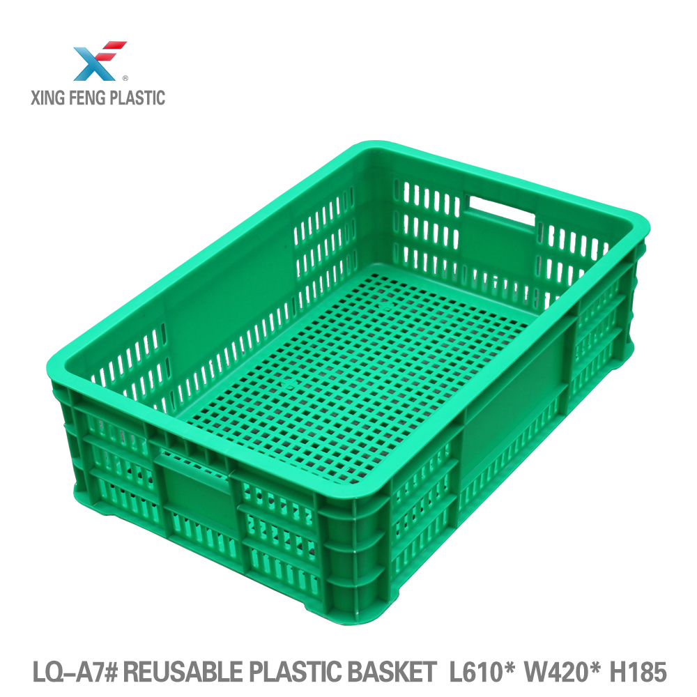 Empty fruit plastic shopping basket used crates for sale 610*420*185mm