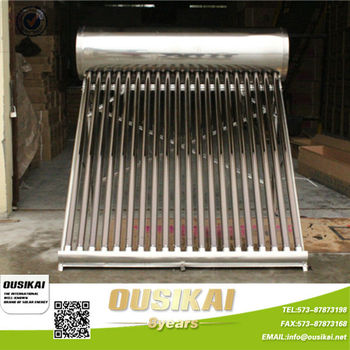 Non Pressurized Passive Solar Water Heater With Stainless