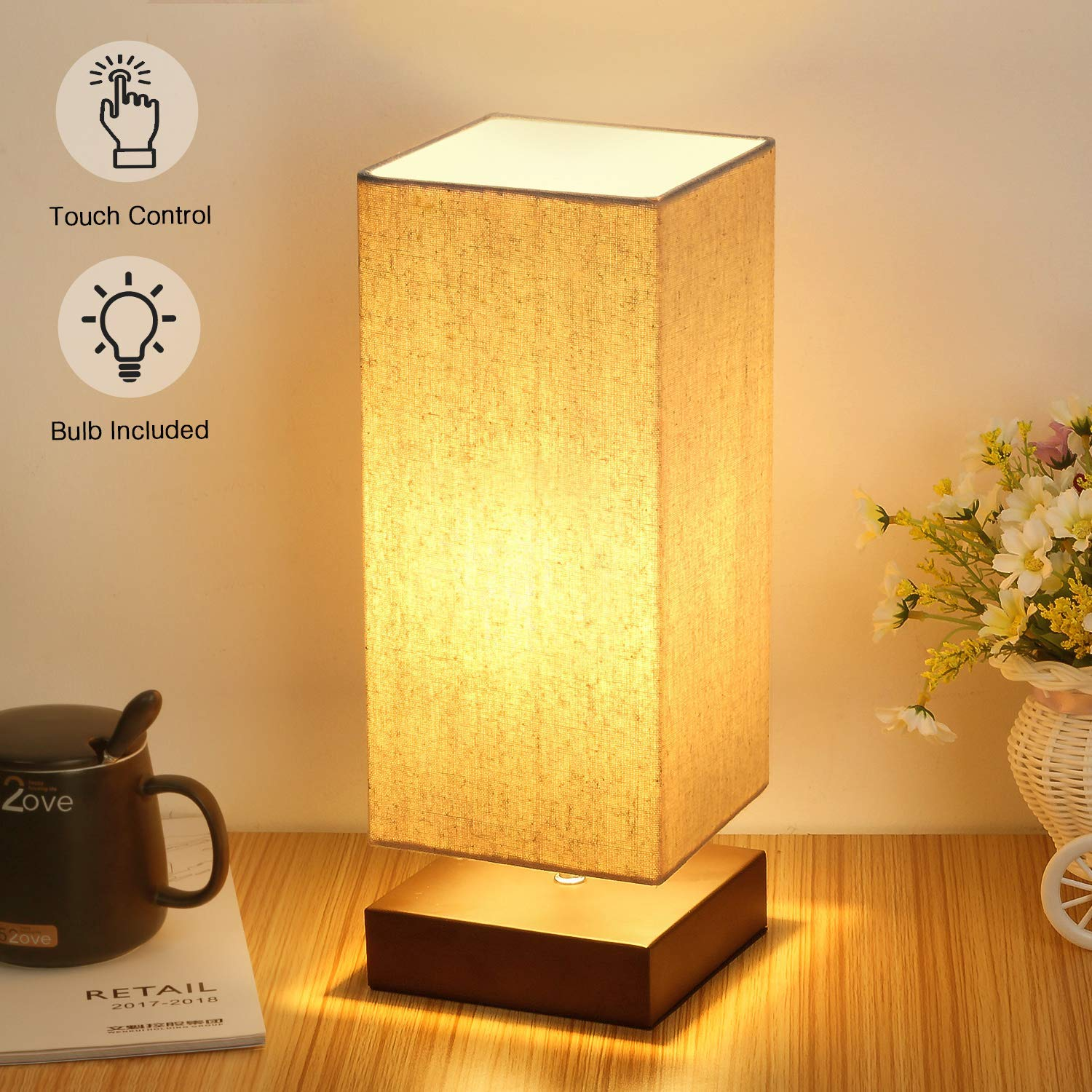 Get Quotations Touch Control Table Lamp Bedside 3 Way Dimmable Desk Modern Nightstand With Square