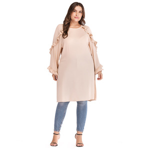 Long Shirts Muslim Women Long Sleeved Blouses Plus Size Muslim Women Long Tunic Tops
