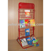 double sides floor standing fixture steel wire frame pocket holder multi tiers shelf metal magazine books display rack