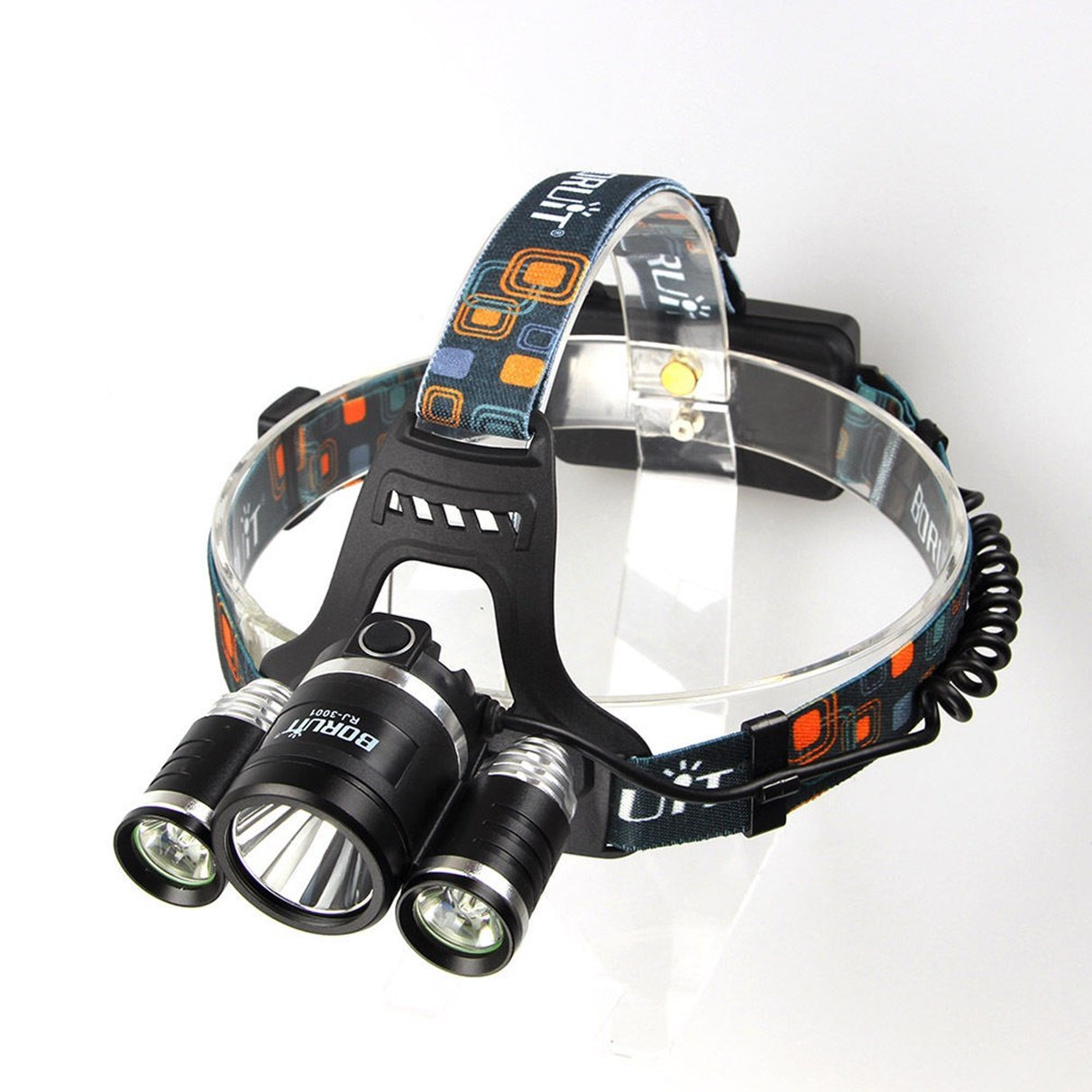 1 Pc Glistening Unique LEDs Flashlight Headlight Headlamp 6000 Lumens Headlamps Headlights Bright Waterproof Zoomable Tactical Camping Hunting Torch Color Black with Rechargeable Wall and USB Charger