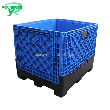 Hdpe Heavy Duty Plastic Pallet Container Foldable Fruit Storage Bins Large Crates For