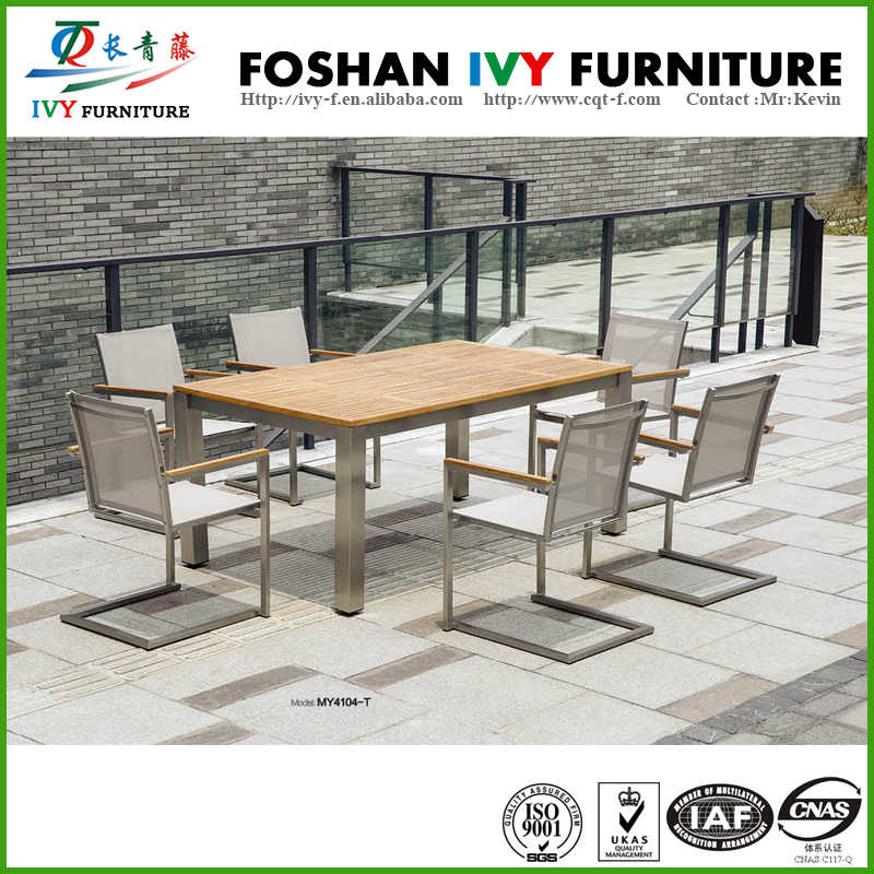 Hot sale patio furniture stainless steel tempered glass table and chair