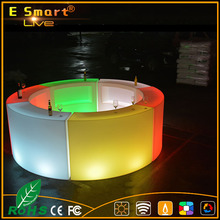 Remote Controlled lighted led light bar counter,glass top led bar counter,LED middle straight bar counter design