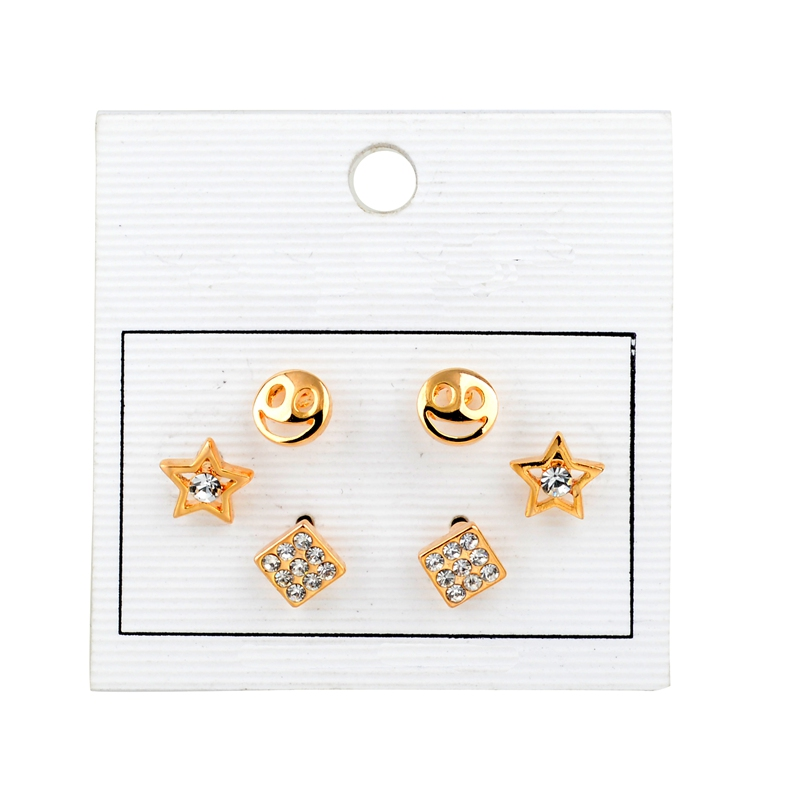 Basic design smiley face and start charm 3 pairs set earring, 18 k gold plating set earring dainty style stud earring