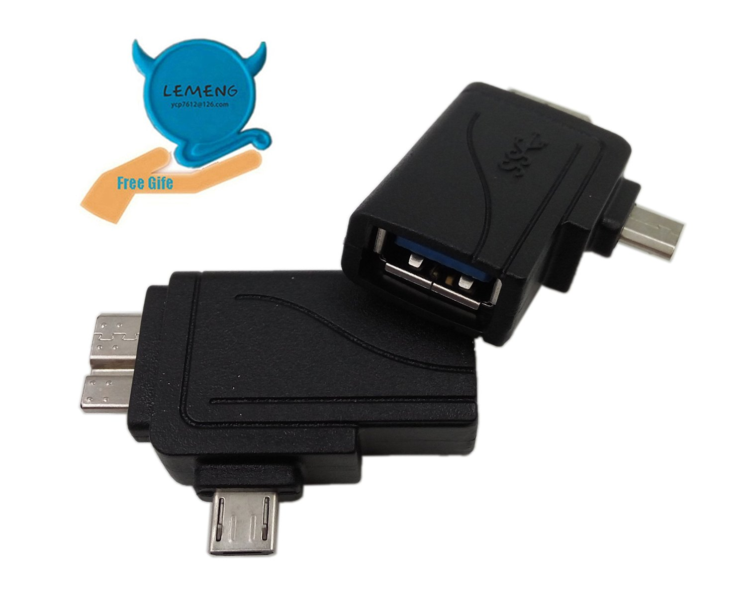 LEMENG 2-in-1 Micro USB 3.0 & 2.0 OTG Adapter, Micro USB Male to USB 3.0 Female A Converter(Black)