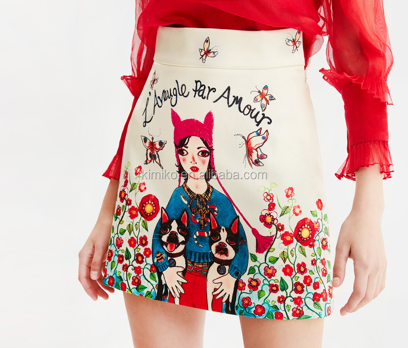2019 New Model High Fashion Cute Cartoon Girl Print High Waist Mini Skirts