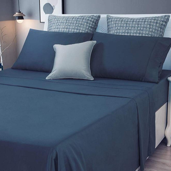 Premium 300TC 100% Bamboo Bed Sheets/Super Silky Soft and Anti-bacterial Bed Linen-Navy Queen Size