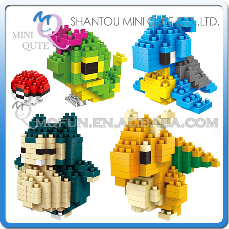Mini Qute Kawaii 4 styles WISE HAWK boys Anime pokemon Dragonite diamond plastic cube building blocks
