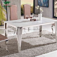 Industrial Marble Stone Hot Sale European Style White Dinning Room Table Set Rectangular Marble Dining Table Modern Dining Table