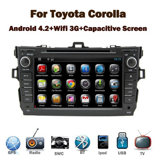 Pure Android car gps for <strong>Toyota</strong> <strong>corolla</strong> 2007-2012 with Capacitive Touch screen GPS Bluetooth Radio RDS USB IPOD