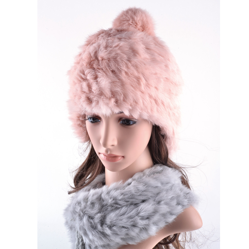 Get Quotations · 100% Real rabbit fur bomber hat leather hair winter hats  for women russian cap earflaps aa918fed0d4b